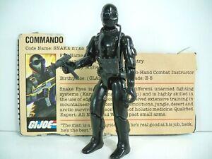 K21i05731 SNAKE EYES V1 FILE CARD STRAIGHT ARM 1982 GI JOE 100% COMPLETE VINTAGE