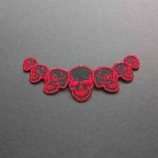 Band of Skulls embroidered patch iron / sew on cloth badge BIKER Red and Black