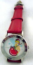 Very good condition Disney Tinkerbell Christmas watch with red leather strap