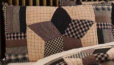 Bingham Star Luxury King Pillow Sham Hand Quilted Patchwork Black Red Cream