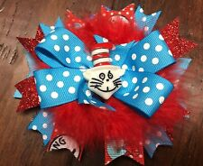 Cat in the Hat Stacked Toddler Hair Bow with Feathers Toddler Dr. Seuss