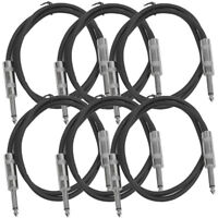 "SEISMIC AUDIO New 6 PACK Black 1/4"" TS 3' Patch Cables - Guitar - Instrument"
