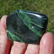 Deep Green Nephrite JADE Crystal Pocket Palmstone Pendant Stone Cabochon Wow