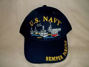 Navy, Colorful Ballcap Set in Black. Featuring a Carrier Group on the Front
