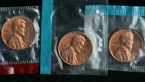 1968 P & D & S Lincoln Cent 3-Coin from US Mint Set UNC Cello One Cent 3-Coins