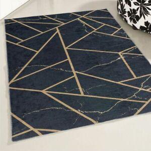 NON SLIP Machine Washable Kitchen Rug Modern Abstract Design Large Mat Marble