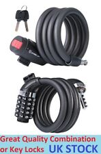 1.2m x 4.5mm Steel Bike Spiral Lock Bicycle Cycle Key Combination Cable Security