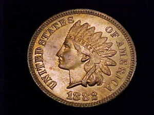 1882 Indian Head Cent, Uncirculated.  A nice full Red color cent.