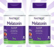 2 Natrol Melatonin 3mg Fast Dissolve Strawberry Tablets Sleep Aid 300 Total