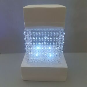 """Square Acrylic Crystal Wedding Cake Stand Kit with crystals & LED lights 6""""-14"""""""
