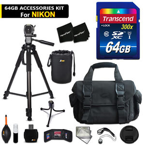 64GB ACCESSORIES Kit for Nikon D3300 w/ 64GB Memory + Large Case + MORE