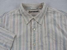 Express Men's Precision Fit S/S Button Up Off White Striped Dress Shirt - XL