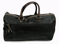 New TED BAKER Black Scotch Grain Leather CROCDUN Gym Carry On Holdall Duffle Bag
