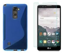 BLUE S-LINE TPU CASE+ CLEAR TEMPERED GLASS PROTECTOR FOR LG STYLO 2