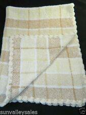 Koala Baby Chenille Tan White Yellow Baby Blanket Scallop Edge Plaid