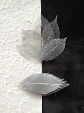 25 Skeleton Leaves Silver Metallic see through leaf Wedding Christmas medium