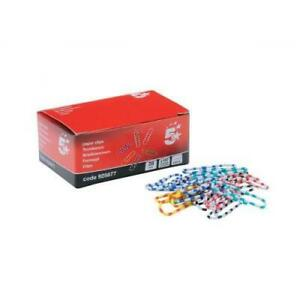 5 Star Office Zebra Paperclips Length 28mm Assorted [Pack 150]