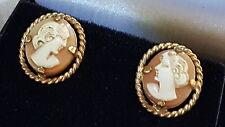 ITALIANO SCOLPITO shell cameo vintage vittoriano antico paio di orecchini