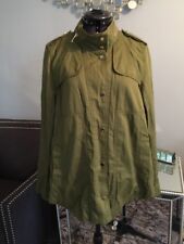 ZARA Army Green Military Gold Snap Studs Front Shirt Jacket Sz S Women's