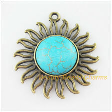 2 New Charms Sun Flower Turquoise Antiqued Bronze Pendants Retro 42.5x46mm