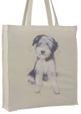 More details for bearded collie splash breed of dog cotton bag gusset xtra space perfect gift