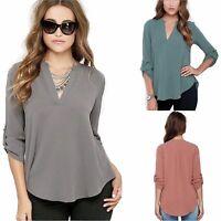 Womens Long Sleeve V-Neck Chiffon Blouse / Shirt UK Size 8 - 18