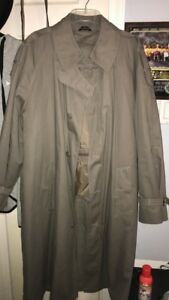 mens grey DI BENEDETTO double-breasted THERMOLITE trench coat belted M 42 Short