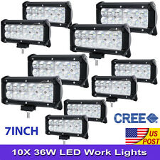"10X 36W 7""Inch Cree LED Work Light Bar Flood Offroad Driving Fog Lamp Jeep Truck"