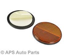 Pair Of Orange Amber Round Adhesive Circle Reflectors Truck Van Bike Car Fence