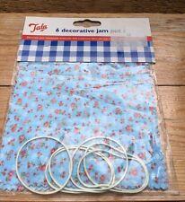 Blue Floral Jam Pot Covers/New/Tala/Set Of 6/Retro Ditsy Design/Home Preserving