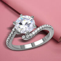 1.25 Ct Center Round Cut Diamond Bypass Engagement Ring 925 Sterling Silver