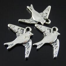 10 pcs Vintage Silver Alloy Peace Dove Birds Pendant Charms Jewelry Accessories
