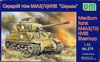 Unimodel 379 - 1/72 M4A3(76)W HVSS Tank Sherman US Medium WWII Plastic UM 379