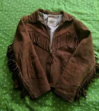 1950s Roy Rogers JACKET COAT Boys Girls Western Cowboy Fringe Rust Leather