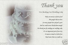 THANK YOU - For making our WEDDING CAKE  (laminated gift)