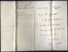1893 10 DOWNING STREET, letter Spencer Lyttelton, Prime Minister Gladstone Sec