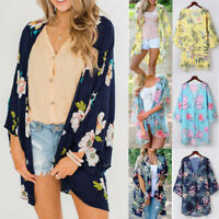 Women Half Sleeve Chiffon Print Cardigan Top Beach Smock Coat Cover Blouse Tops