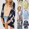 Women Half Sleeve Chiffon Print Cardigan Top Beach Smock Coat Cover Blouse Tops