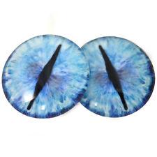 40mm Blue Ice Dragon Glass Eyes Cabochons Set - Jewelry, Dolls, Fursuit Making