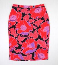 WHO WHAT WEAR Women's Pencil Skirt SIZE 16 Coral Floral **NWT**