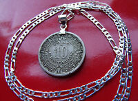 """pre-46 Mexican Aztec Calendar Coin Pendant on 18"""" 925 Sterling Silver Chain"""