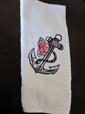 Machine Embroidered Hand Towel Anchor and Rose  Handmade -- New