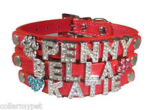 Small CUSTOM Red Leather Rhinestone Dog Collar PERSONALIZED 6 FREE Letters USA