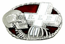 Skull Belt Buckle Skeleton & Cross Rest In Peace Gothic Authentic Dragon Designs