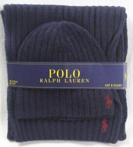 Polo Ralph Lauren Navy Blue Wool Scarf Beanie 2 Piece Set NWT