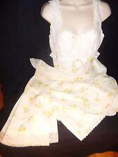 Vintage Saab for Elizabeth Arden Yellow Floral Nightgown & Bed Jacket Set M 36