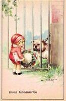 BERTIGLIA Bambina Cane Bulldog Augurale onomastico Childrens Dog PC Circa 1940 2