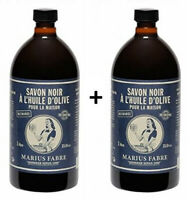 Marius Fabre SAVON DE MARSEILLE - Savon Noir à L'Huile d'Olive 1L Lot 2 flacons