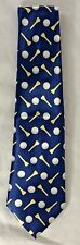 VINTAGE ROYAL BLUE SATIN TIE WITH GOLF BALLS AND TEES