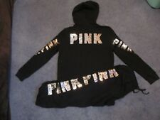 NWT VICTORIA'S SECRET PINK BLING OUTFIT PERFECT FULLZIP CLASSIC PANT LARGE